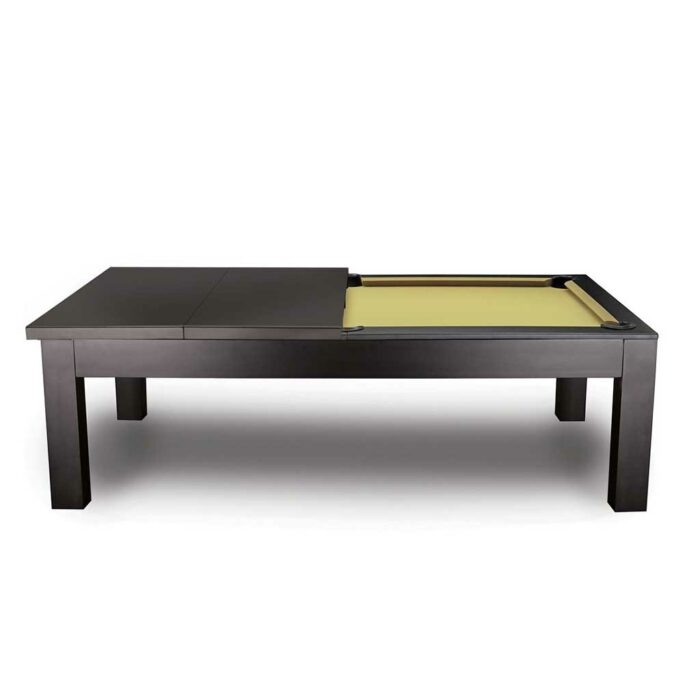 Penelope pool table side view with half dining top